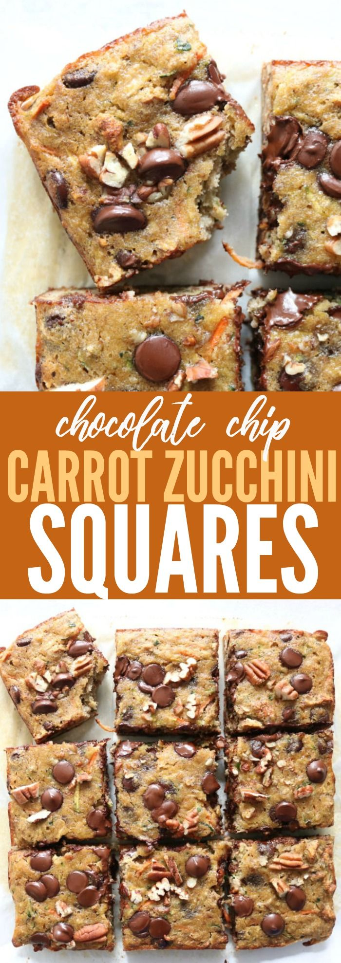The best low carb, gluten free, and dairy free recipe for chocolate chip zucchini squares! Super easy and delicious! You need this in your life!! thetoastedpinenut.com #lowcarb #glutenfree #zucchini