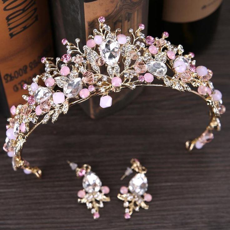 Pink Gold Pearl Bridal Crowns Tiara