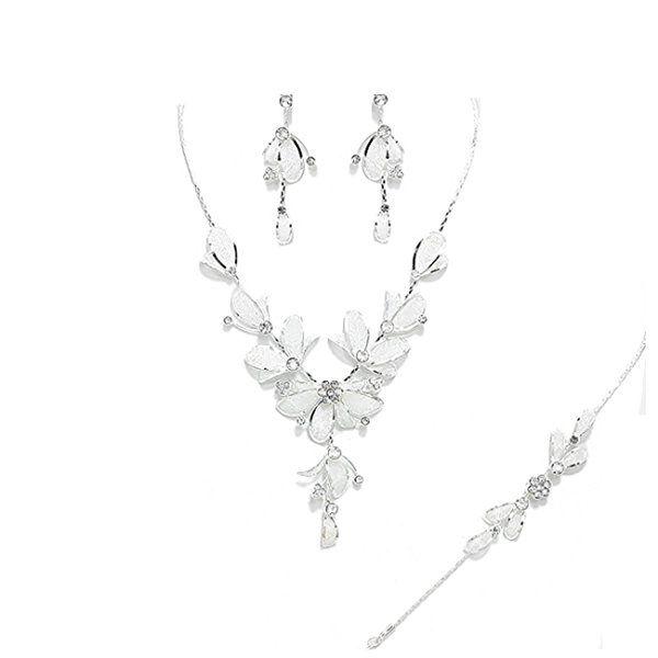 Best-seller-Set di gioielli da sposa, bracciale, collana e orecchini con fiori, tulle, foglie e cristalli, colore: trasparente