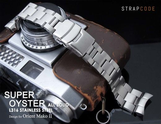 22mm Super Oyster 316L Stainless Steel Watch Band for Orient Mako II & Ray II, Diver Clasp Brushed