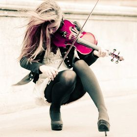 the girl with the pink violin. This would be great for digital photography