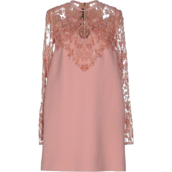 Elie Saab Short Dress (€4.550) ❤ liked on Polyvore featuring dresses, pastel pink, long sleeve cocktail dress, pink cocktail dress, red mini dress, short sequin dress and red sequin dress