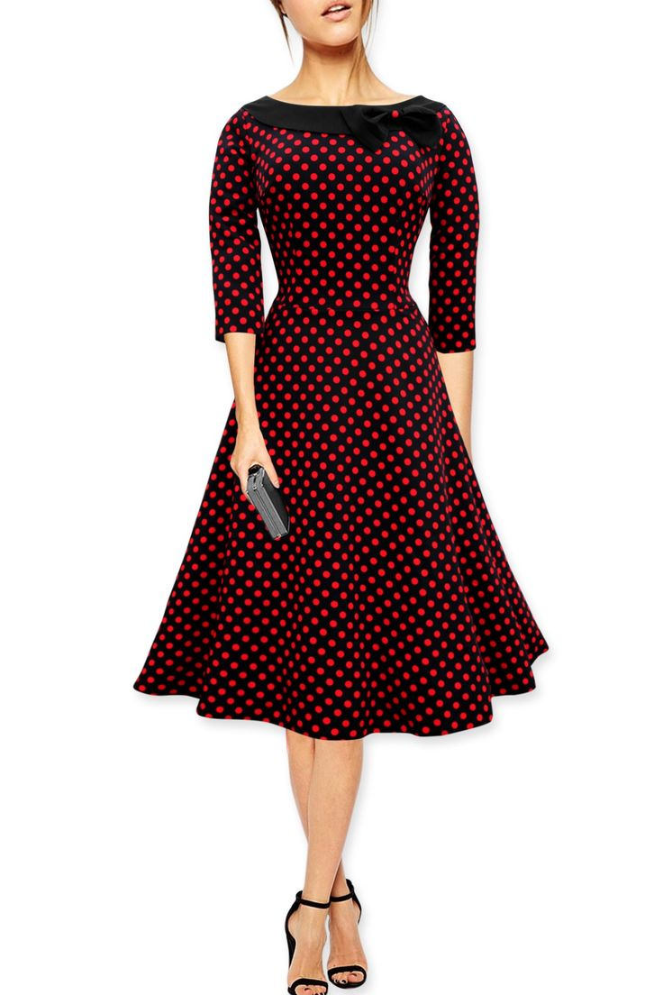 Black Butterfly Polka Dot Collared Vintage 1950's Rockabilly Swing Evening Dress (Black - Red Dots, 14)