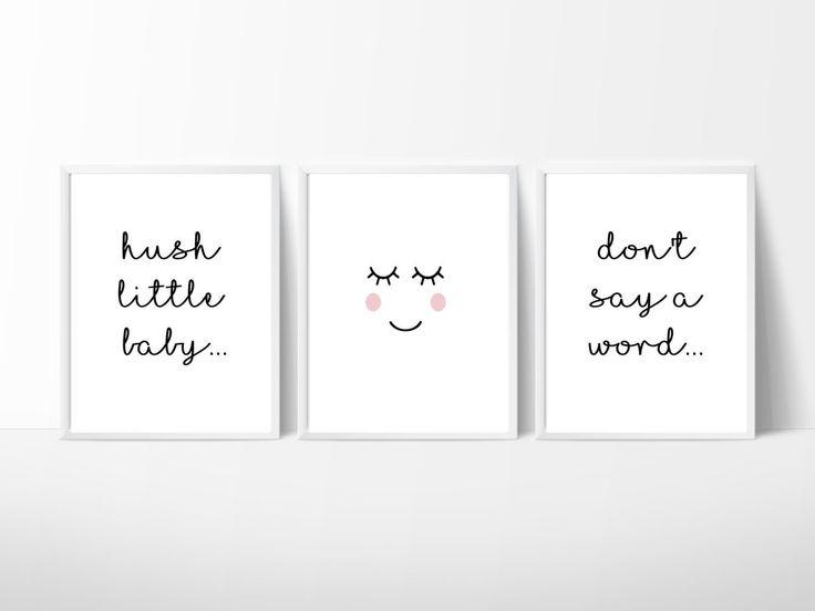 Hush Little Baby Nursery Room Wall Decor, Print your own decor