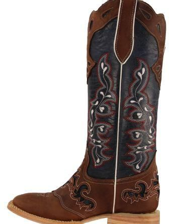 a6870db5477 Women's Rockin Leather Tall Distressed Brown Boot With Wide Square ...