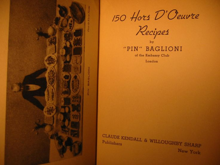 Pin Baglioni Embassy Club London Recipe Book 150 Hors D Oeuvres