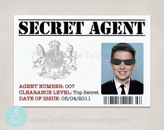 6 Secret Agent Id Detective Id Spy Id Secret Agent Party Spy Party Id Card Template