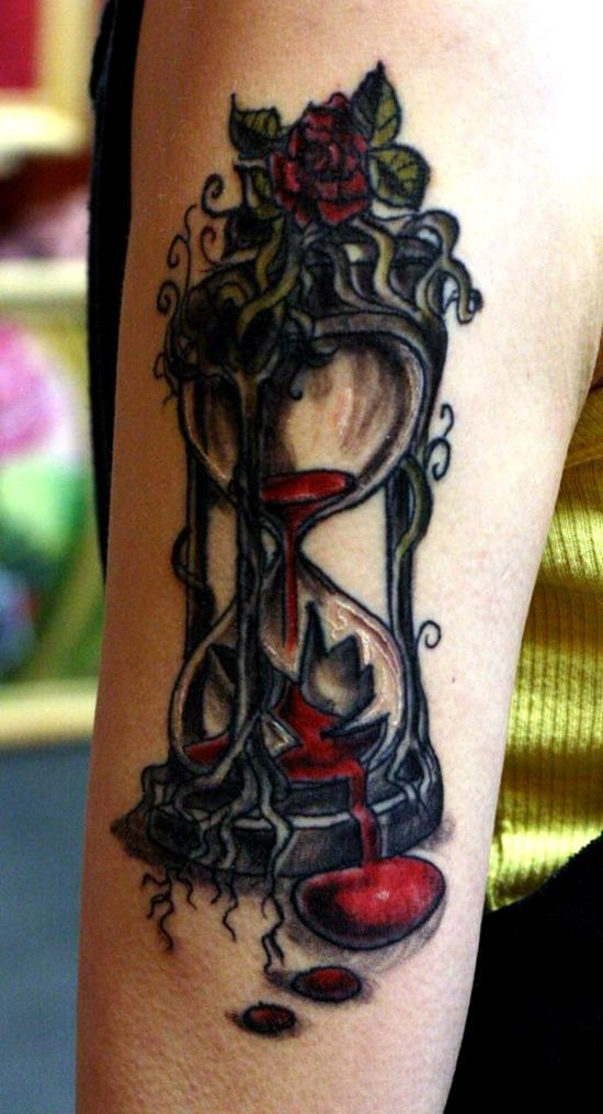 hour-glass-tattoo-design-on-sleeve ~ http://heledis.com/hourglass-tattoo-designs-is-an-unique-design-for-unique-person/