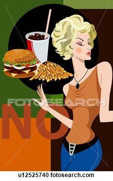 Arkiv Illustrasjon - koks, kvinne, hamburger ø, kast mat, diett, steker, data# grafisk. Fotosearch - Søk utklipp, illustrasjonsplakater, teg...