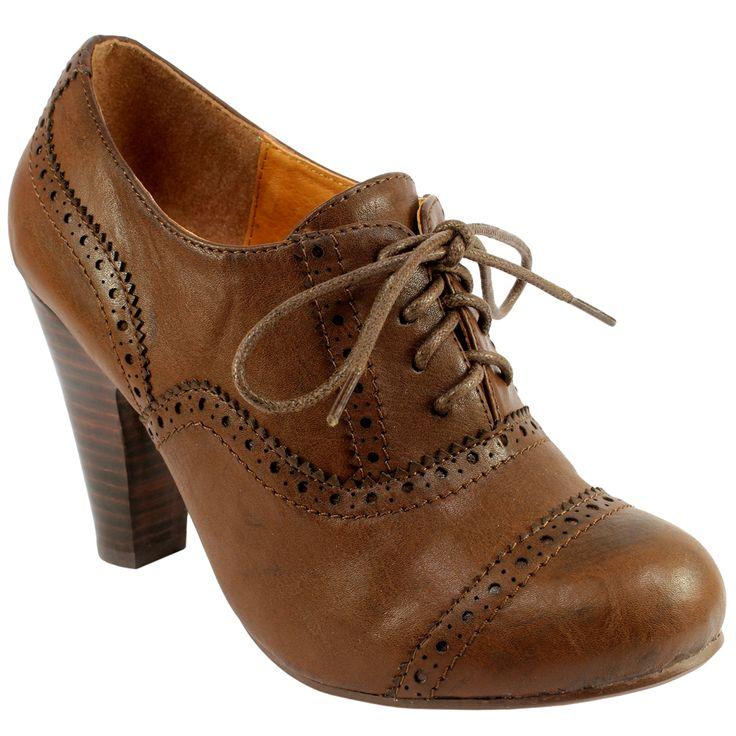 Womens Brogue High Heel Ankle Shoe Boots