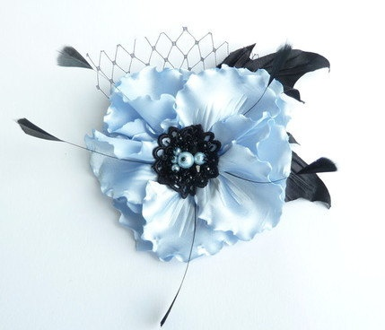 Blue with black  fabric flower  with by JeannasSecretGarden, $45.00