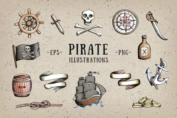 Pirate Illustrations by Marie Ockleford on @creativemarket