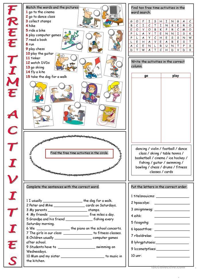 ejercicios de ingles free time activities