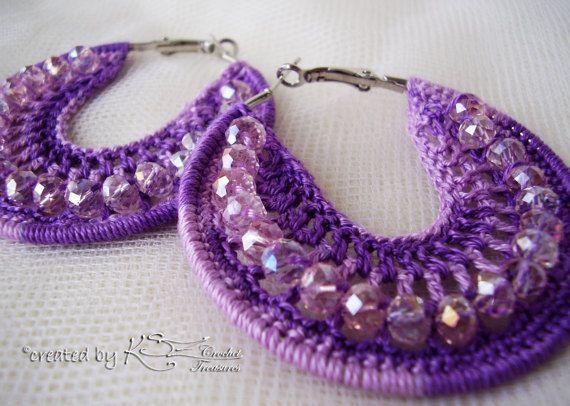 Crochet hoops Crochet earrings Purple earrings Beaded