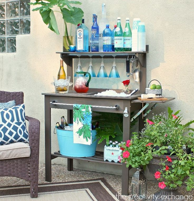 30+ Creative DIY Wine Bars for Your Home and Garden --> Potting Bench Turned Outdoor Bar #DIY #furniture #bar