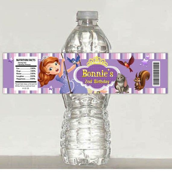 Sofia The First Water Bottle Label Princess Disney Beauty Cinderella Mermaid Ariel Brave INSTANT DOWNLOAD Editable Text In Power Point