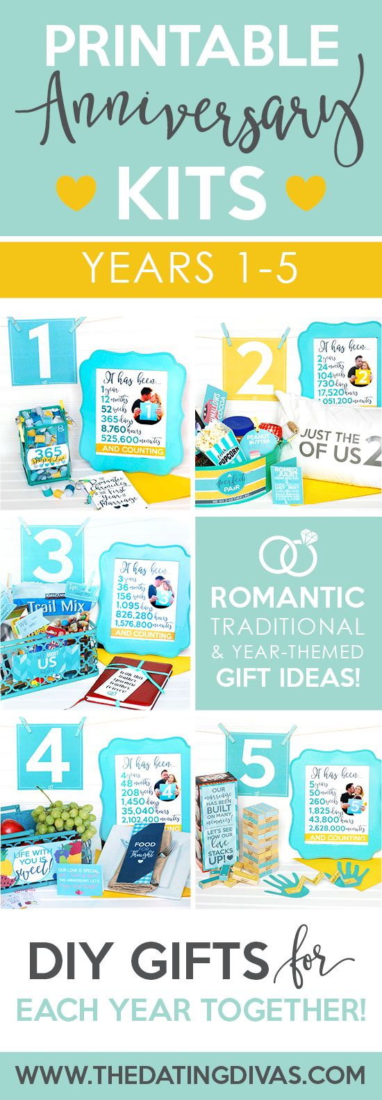 Finding the perfect gift to show your spouse just how much the past year has meant can be a challenge! Say no more because we have planned out your first FIVE anniversaries for you! We've provided you with 3 romantic and traditional gift ideas for each of your first five years of marriage. And of course, don't forget to download your FREE Anniversary Guide for the most comprehensive list of Anniversary Ideas EVA along with a Diva Store Promo Code!!
