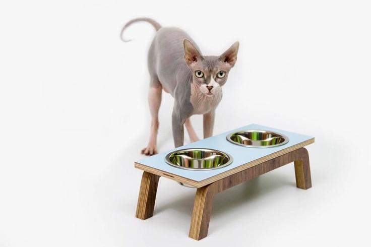 Mid Century Modern Pet Feeder & stainless steel bowls. $69.00, via Etsy.