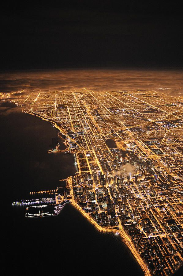 Lights of Chicago from the sky One