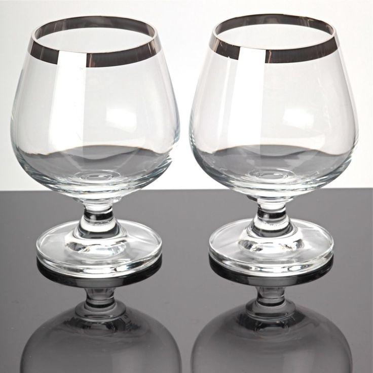 2 Cognacgläser Cognacschwenker Cristallerie Zwiesel ISOLA Glas Platinrand 80er