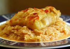 hungarian stuffed cabbage roll with sauerkraut