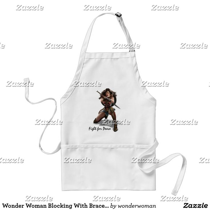 Wonder Woman Blocking With Bracelets. Producto disponible en tienda Zazzle. Product available in Zazzle store. Regalos, Gifts. #delantal #apron