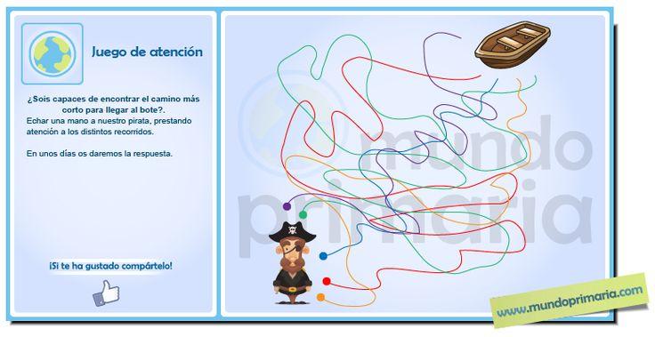 Ayuda a nuestro pirata a encontrar el camino más corto para llegar al bote. #infography #children #education #resources #flowcharts #school #spanish