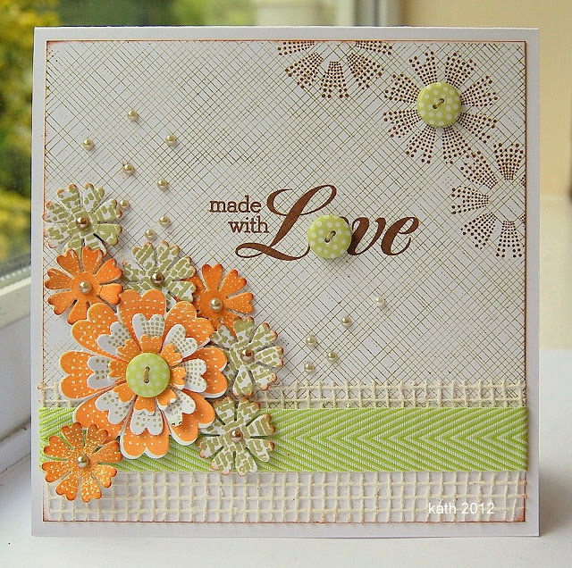 I am in awe of Kath Stewart's cards. She is so talented. Here she is using the Lovely flower from the Sizzix Everyday collection.