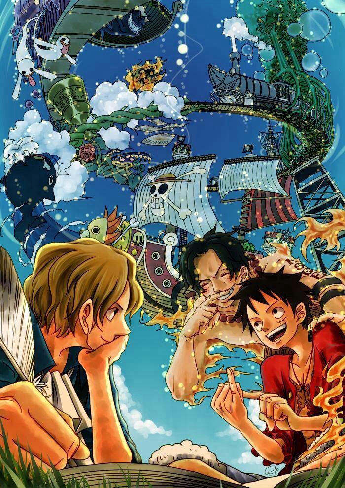 Sabo (サボ Sabo) || Portuguese D. Ace (ポートガス・D・エース) || Luffy Monkey D. Rufy (モンキー・D・ ルフィ Monkī D. Rufi)  || One Piece ||