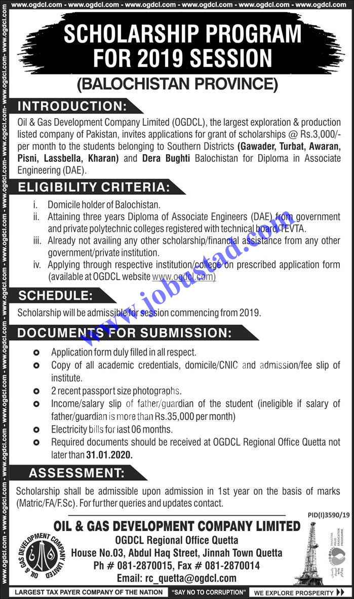 Ogdcl Scholarships 2020 For Students Of Kpk And Balochistan Has