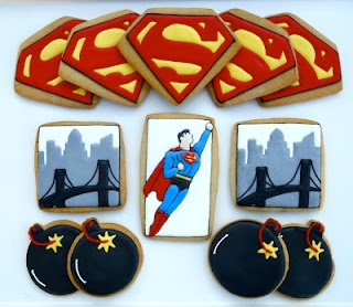 Superman Cookies - Oh, Sugar! Events http://ohsugareventplanning.blogspot.com/2012/06/superman-cookies.html?utm_source=feedburner_medium=email_campaign=Feed%3A+OhSugarEvents+%28Oh+Sugar+Events%29