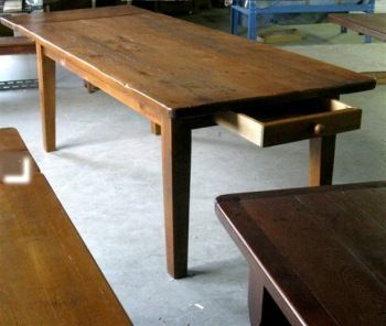 Very Rustic Farm Table With Drawer And Wideboard Top