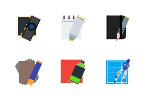 Drawing and painting tools flat colorful icon set.