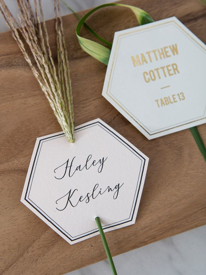 These DIY Editable Hexagon Seating Or Escort Cards Are SO Pretty