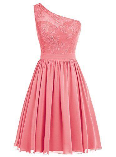 Dresstells® Short Prom Dress One Shoulder Bridesmaid Dres...