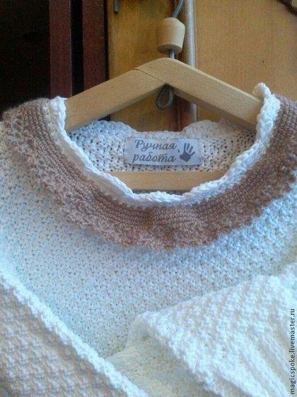 Белый хлопковый свитер с ажурным воротничком - белый,однотонный,хлопковый свитер