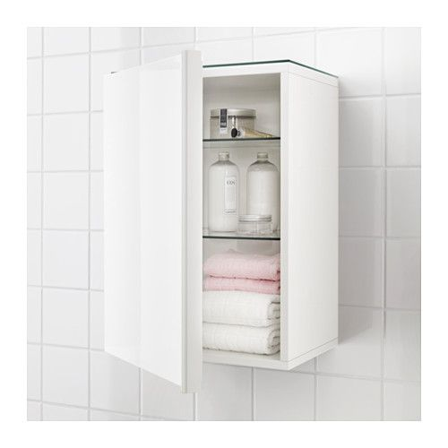GODMORGON Wall cabinet with 1 door, high gloss white high gloss white 15 3/4x12 5/8x22 7/8