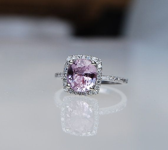 1.83ct Cushion Lilac Peach Champagne Sapphire 14k white gold diamond  Engagement Ring