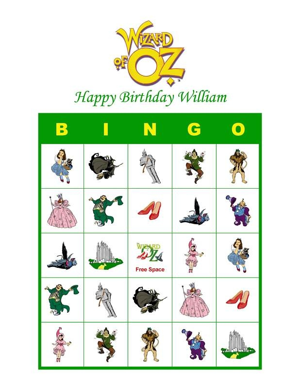 Wizard of Oz birthday Party.  Bingo with gummy candies for markers, always a hit!