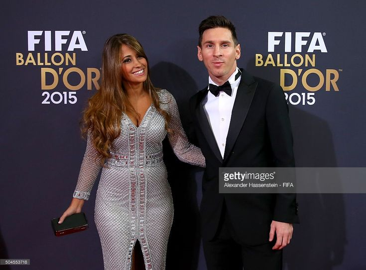 Ballon d'Or nominee Lionel Messi of Argentina and Barcelona and Antonella Roccuzzo arrive for the FIFA Ballon d'Or Gala 2015 at the Kongresshaus on January 11, 2016 in Zurich, Switzerland.