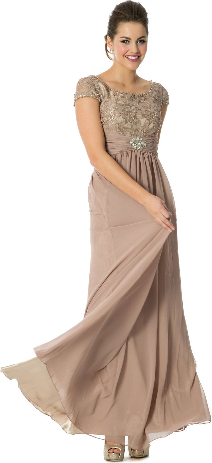 33 best bridesmaids dresses images on pinterest clothes prom metallic lace empire mother of the bride dress mocha ombrellifo Choice Image