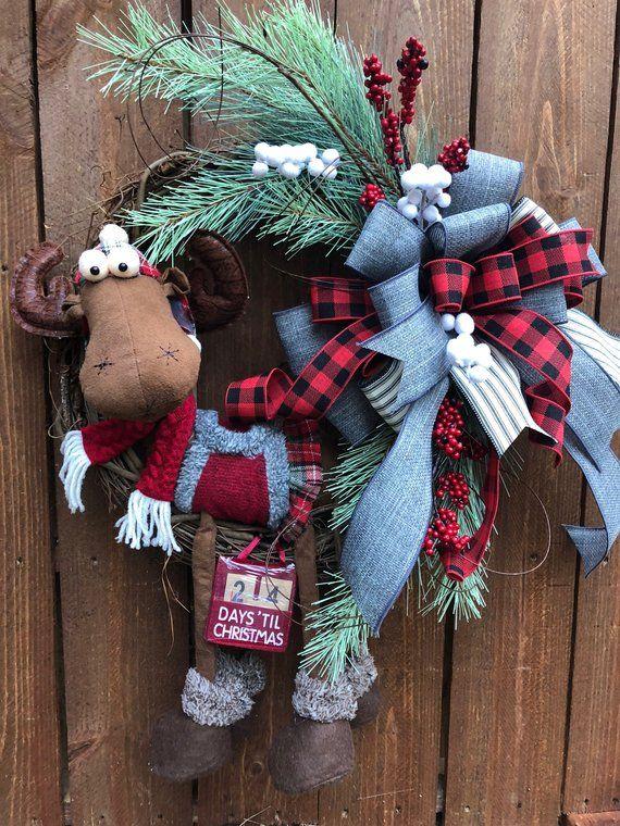 Moose Wreath, Christmas Wreath Front Door, Buffalo Check Wreath