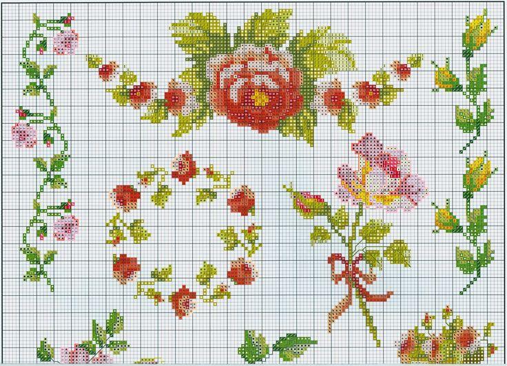 Rose Sampler (Part 1) free cross stitch pattern from www.coatscrafts.pl