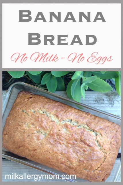Basic ingredient recipe for dairy-free and egg-free banana bread.  Tried and true.  Versatile for pumpkin or zucchini bread, as well.  Used by food allergy families and vegans for years.  One of our top blog posts!