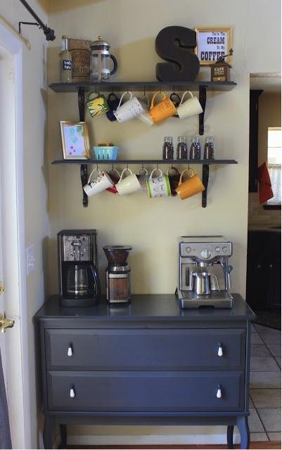 Ikea Cabinet Turned Coffee Station