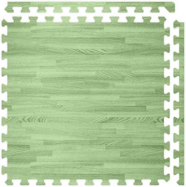 Green SoftWood™ Interlocking Foam Floor Tile