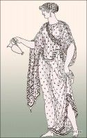 Figure with ampechonion or outer garment, and sleeveless chiton buttoned to give the appearance of sleeves.
