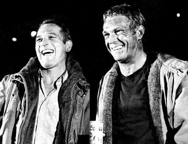 Paul Newman and Steve McQueen on the set of The Towering Inferno.