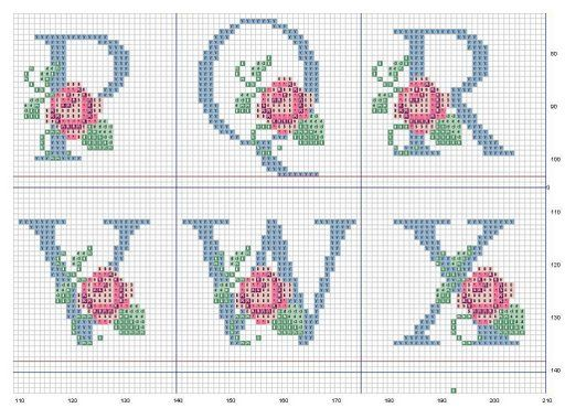 Ponto-Cruz-Abecedário-Rosas-PQRVWX.jpg (512×370)