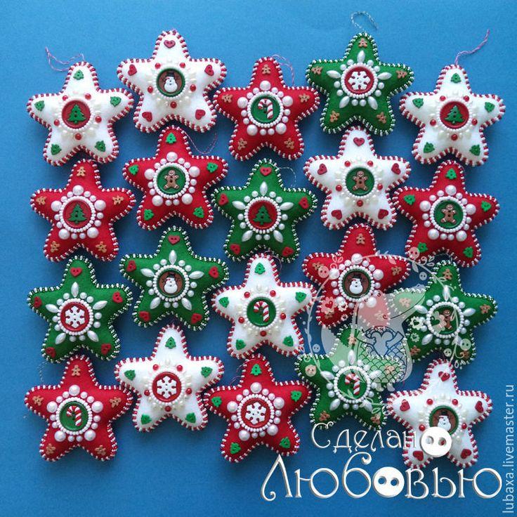 Купить Ёлочные украшения из фетра - Звезды - елочные игрушки, елочные украшения, звезда, Новый Год